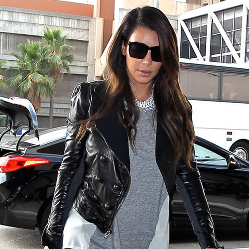 Kim Kardashian Wearing Leather Jacket