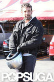 Ben Affleck put his helmet back on after stopping for lunch.
