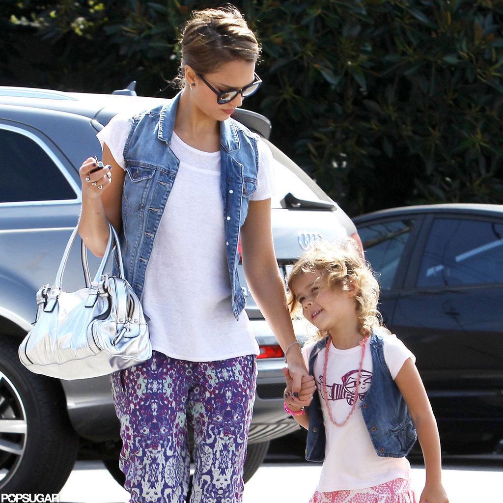 Jessica Alba held Honor's hand in LA.
