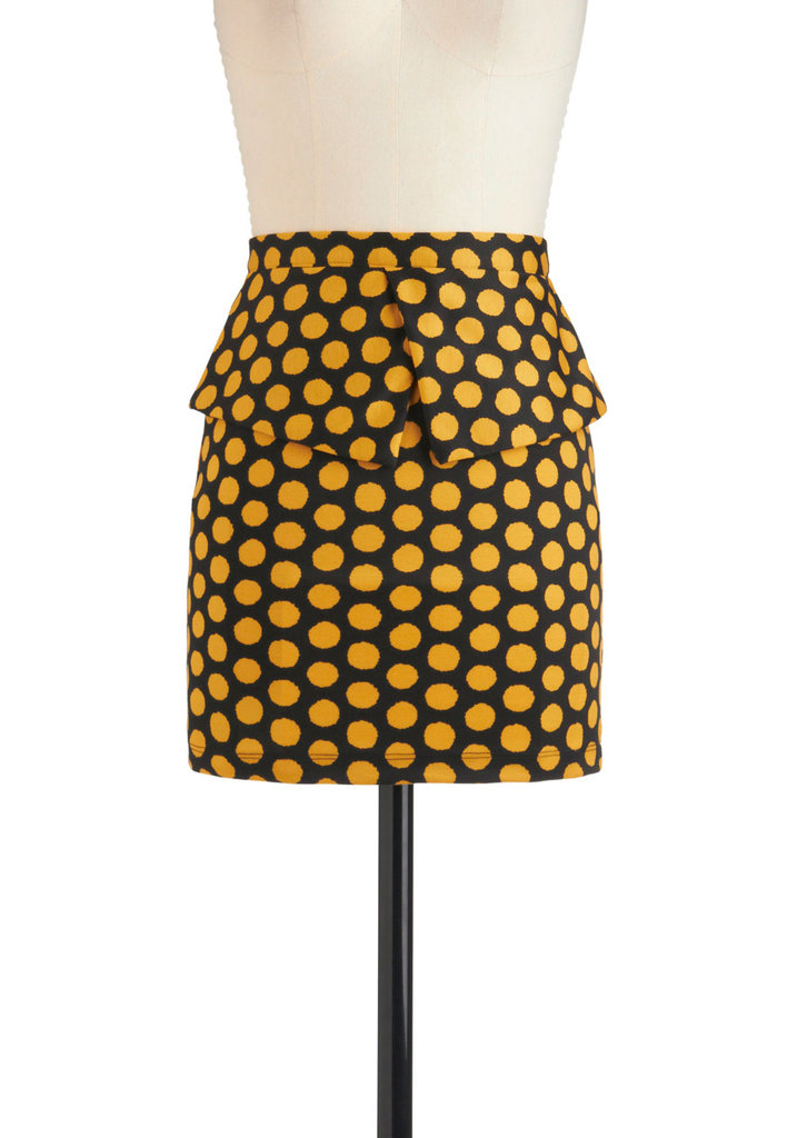 We love how the peplum detail on this polka-dot skirt adds an extra layer of visual appeal. Modcloth Bin-go Getter Skirt ($38)