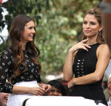 Nina Dobrev and Maria Menounos carried on an interview at The Grove.