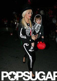 Christina Aguilera and her son, Max Bratman, both dressed as skeletons in 2009 in LA.