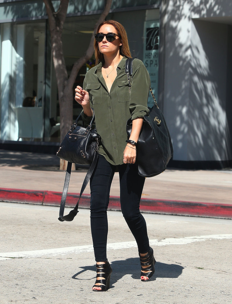 Lauren Conrad wore an army green shirt and black pants in LA.