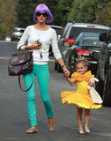 Alessandra Ambrosio wore a wig while her daughter, Anja, was a princess in LA for Halloween 2011.