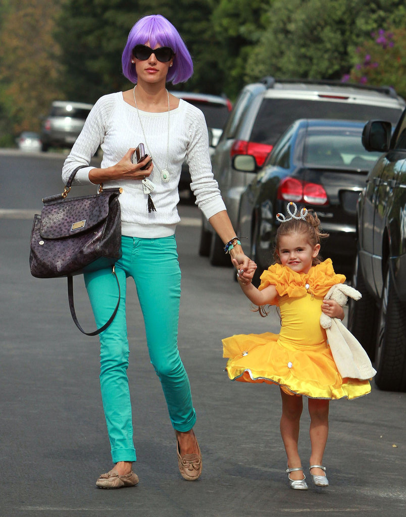 Alessandra Ambrosio wore a wig while her daughter, Anja, was a princess in LA for Halloween in 2011.