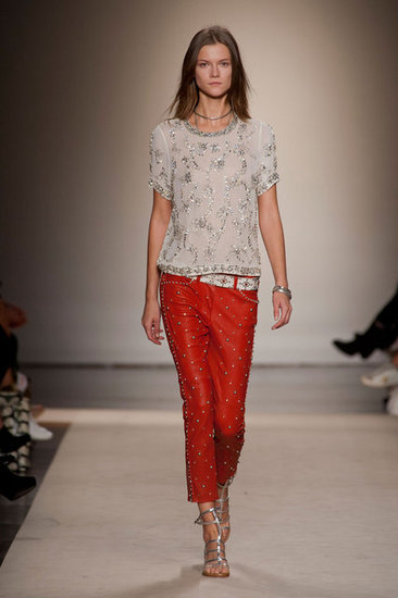 Marant's Spring 2013 collection gave way to effortless silhouettes with high-impact detailing — and we wanted a piece of it, namely these studded red leather pants.