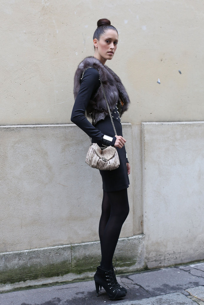 This fur gilet upped the Fall feel with a decidedly decadent twist on her LBD and lace-ups.