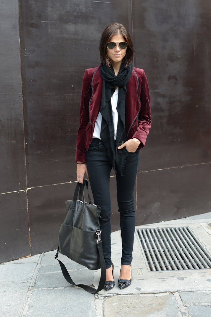 Fall's favorite burgundy hue was the seasonal bit of chic in this play on wardrobe staples.