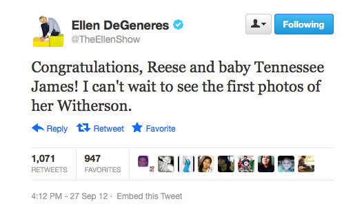 Ellen DeGeneres makes use of one of the many Witherspoon puns out there.