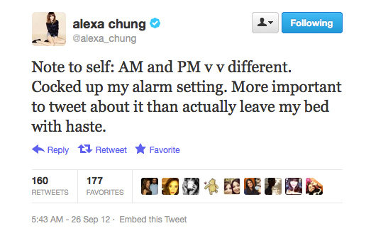 Alexa Chung discovers the perils of alarm clock errors.