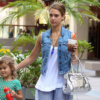 Jessica Alba Wearing Blue Printed Maxi Skirt