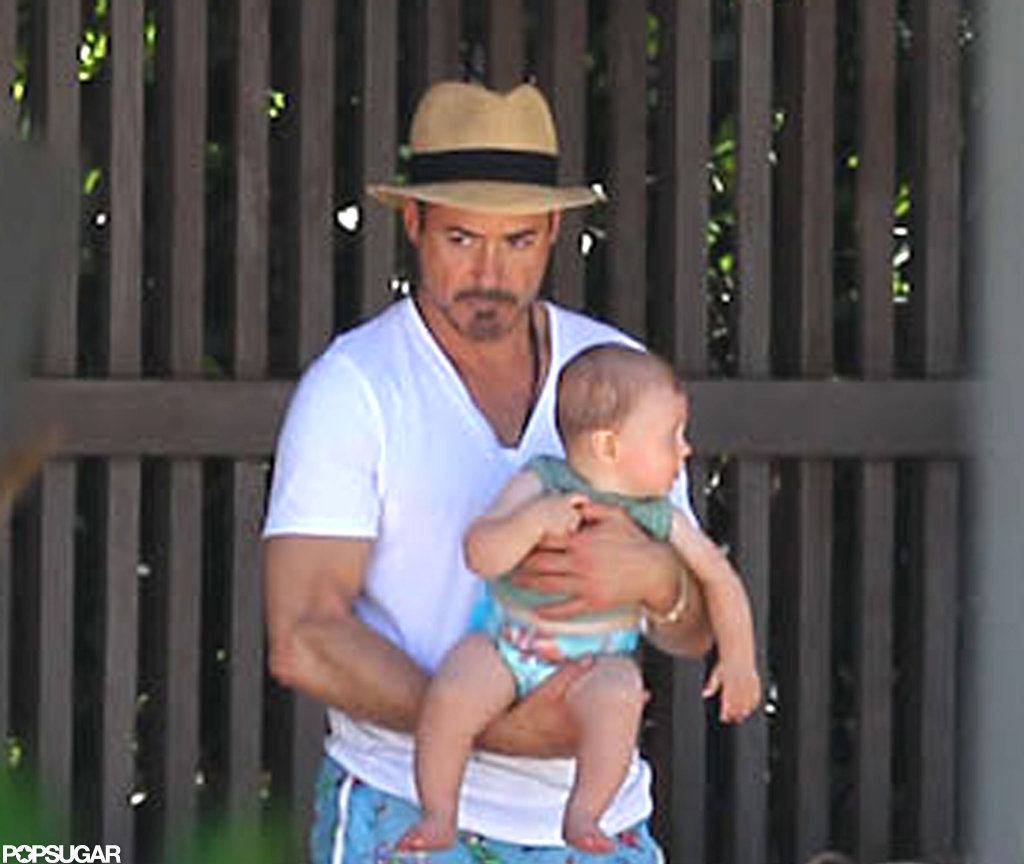 Robert Downey Jr. held onto his son, Exton.