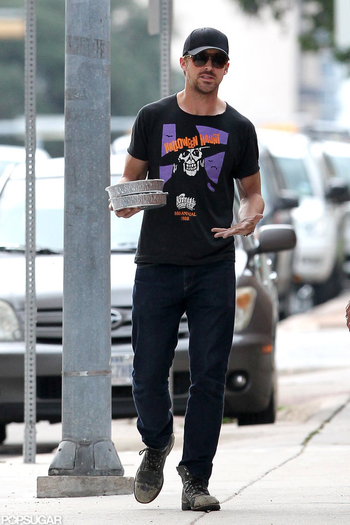 Ryan Gosling wore a Halloween-themed shirt.
