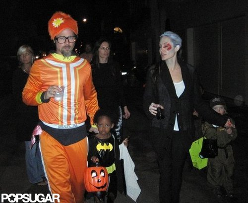 Angelina Jolie and Brad Pitt got dressed up to trick-or-treat with their kids around LA in 2009.