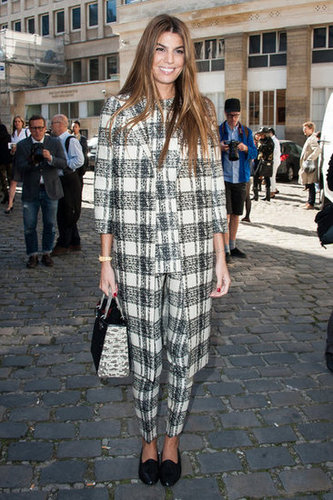 Bianca Brandolini showed off her perfect mix of checkered plaid and slick smoking slipper style at Giambattista Valli.