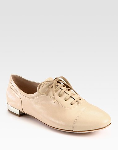 A great neutral with a subtle metallic heel kick, these Miu Miu Lace-Up Leather Oxfords ($595) will go with everything, and we love that they put a girlier spin on the menswear staple.