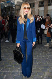Rachel Zoe donned a cobalt blue tuxedo-lapel pantsuit to Giambattista Valli's show, a real '70s inspired treat.