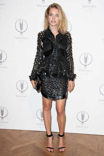 Natalia Vodianova gave her LBD an ultratextured feel, only adding a pair of Givenchy's must-have ankle strap sandals for the finish.