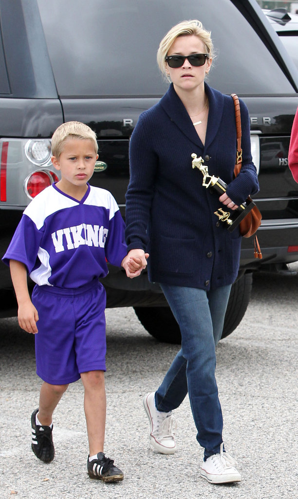 Reese Witherspoon played the role of soccer mom when cheering on Deacon and his Viking team.