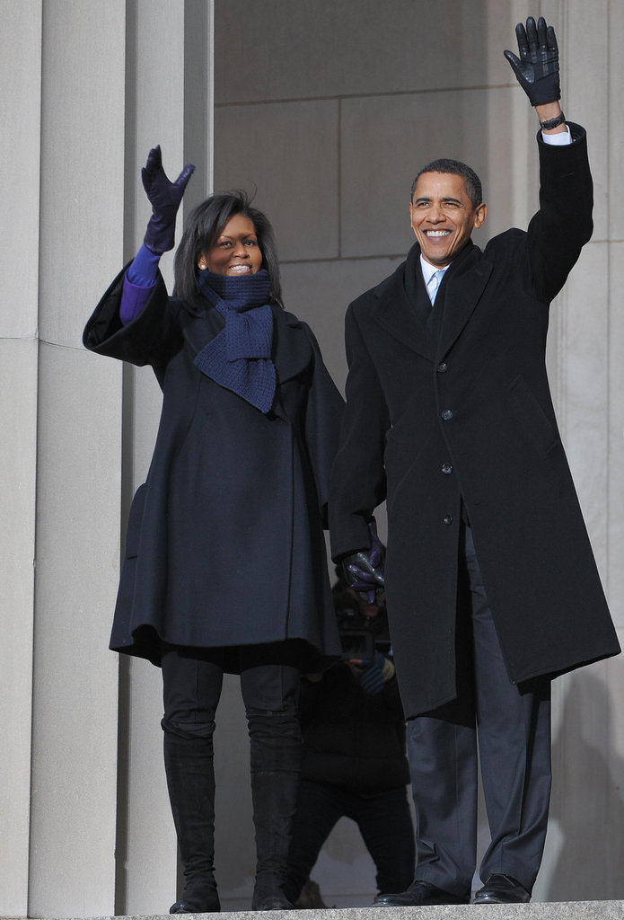 Then President-elect Barack Obama and Michelle addressed supporters in Washington, DC before the inauguration.