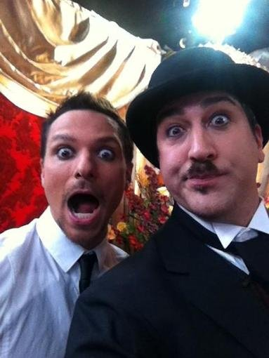 Drew Lachey and Joey Fatone got theatrical behind the scenes of Dancing With the Stars. Source: Twitter user realjoeyfatone