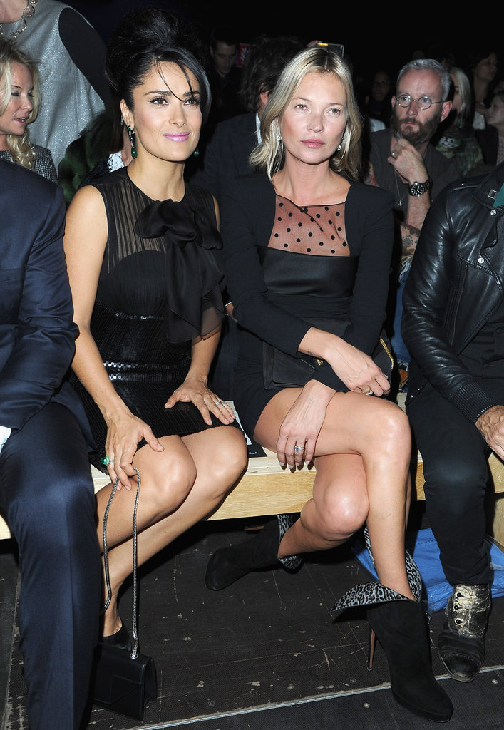 In October of 2012, Kate Moss joined Salma Hayek for the Saint Lauren fashion show in Paris.