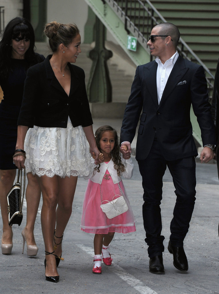 Jennifer Lopez and Casper Smart held Emme's hand as they made their want into Chanel's show for Paris Fashion Week.