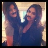 Kylie Jenner and Kim Kardashian tried on disguises. Source: Instagram user kimkardashian