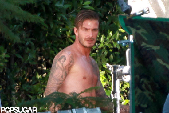 David Beckham was shirtless.