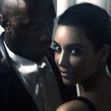 Kim Kardashian and Kanye West got close for a photo. Source: Instagram user kimkardashian