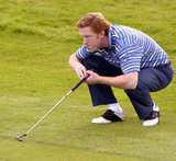 Homeland's Damien Lewis planned his shot at the Celtic Manor Resort in Wales in August 2006.