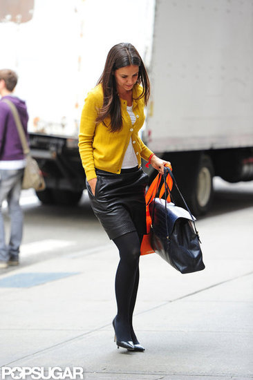 Katie Holmes donned a leather skirt.