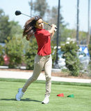 Eva Longoria gave her best shot at a May 2012 charity tournament in Toluca Lake, CA.