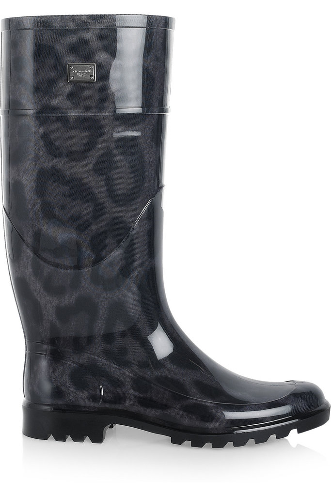 With a subtle animal print and a glossy finish, there's something so playful about these Dolce & Gabbana Animal-Print Patent-Rubber Rain Boots ($395), we can't help but be reminded of our favorite rain slicker sets as kids.