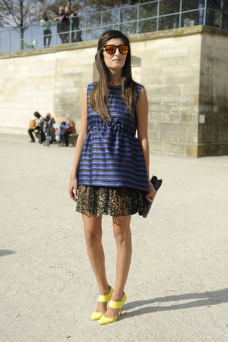 A whimsical mix of metallic stripes, peplum, and bright heels made this look pop.