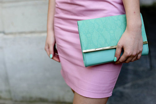Pastels played perfectly together in this look — even her nails were done to match.