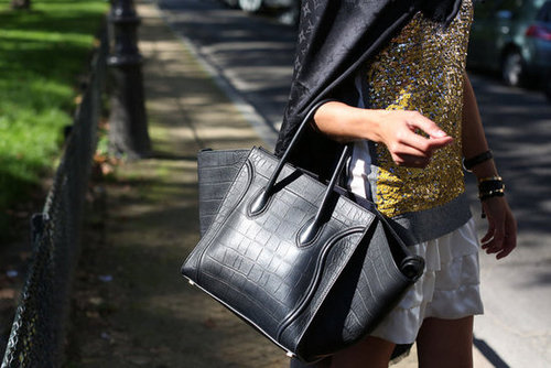Spotted: another enviable Céline tote with a high-fashion croc finish.