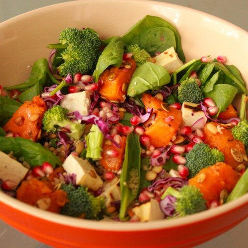 Pomegranate Seeds and Squash Salad