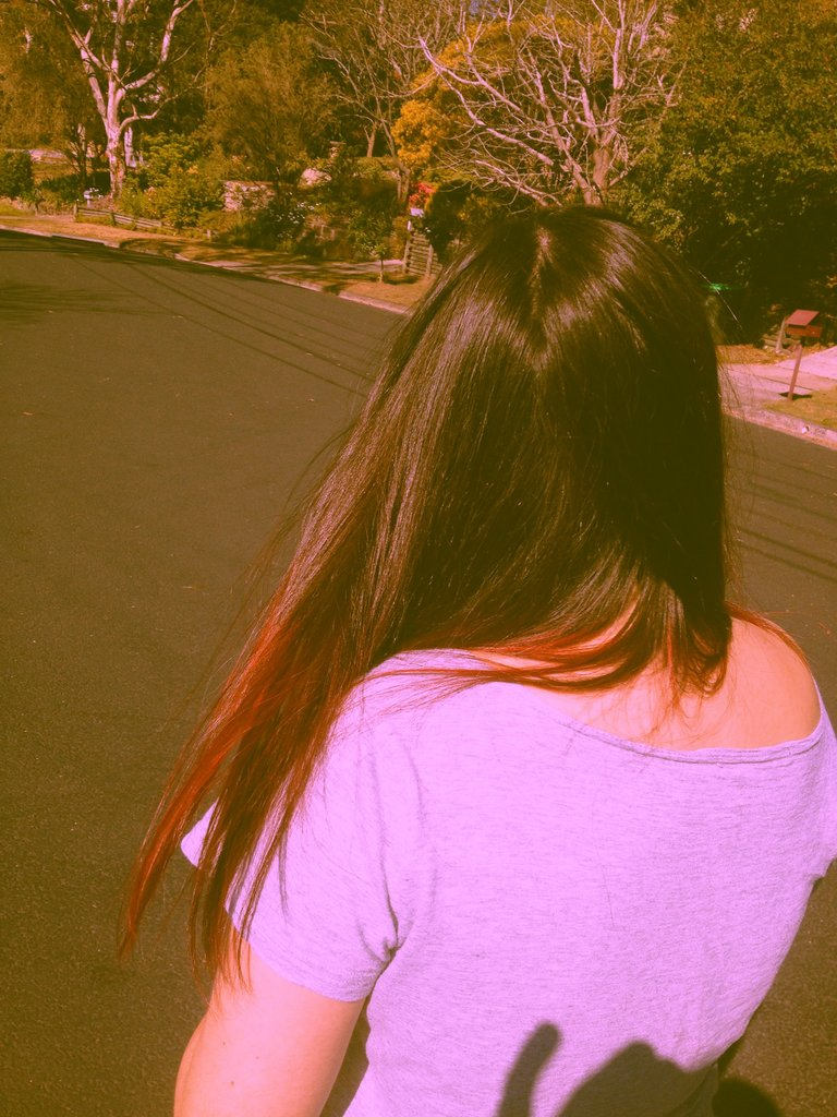 The ends of my hair are dyed bright red, but dang, it fades quickly! Expensive habit, yeah.