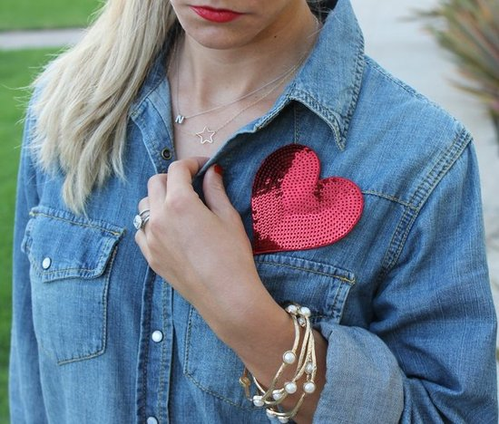 Sequin Ban.do Heart. Target Chambray Denim Shirt. Max and Chloe Bracelets