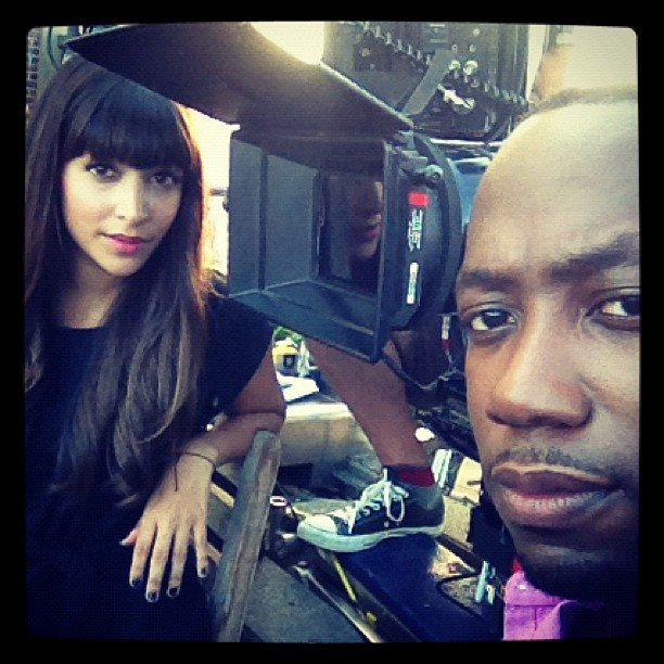 Lamorne Morris put on his serious face for a picture with New Girl costar Hannah Simone. Source: Instagram user lamorne