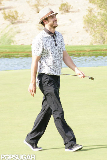 Justin Timberlake laughed on the golf course.