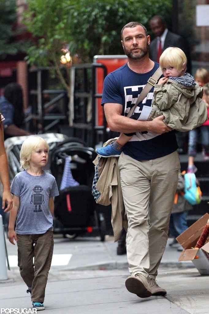 Liev Schreiber walked with Kai Schreiber and Sasha Schreiber in NYC.