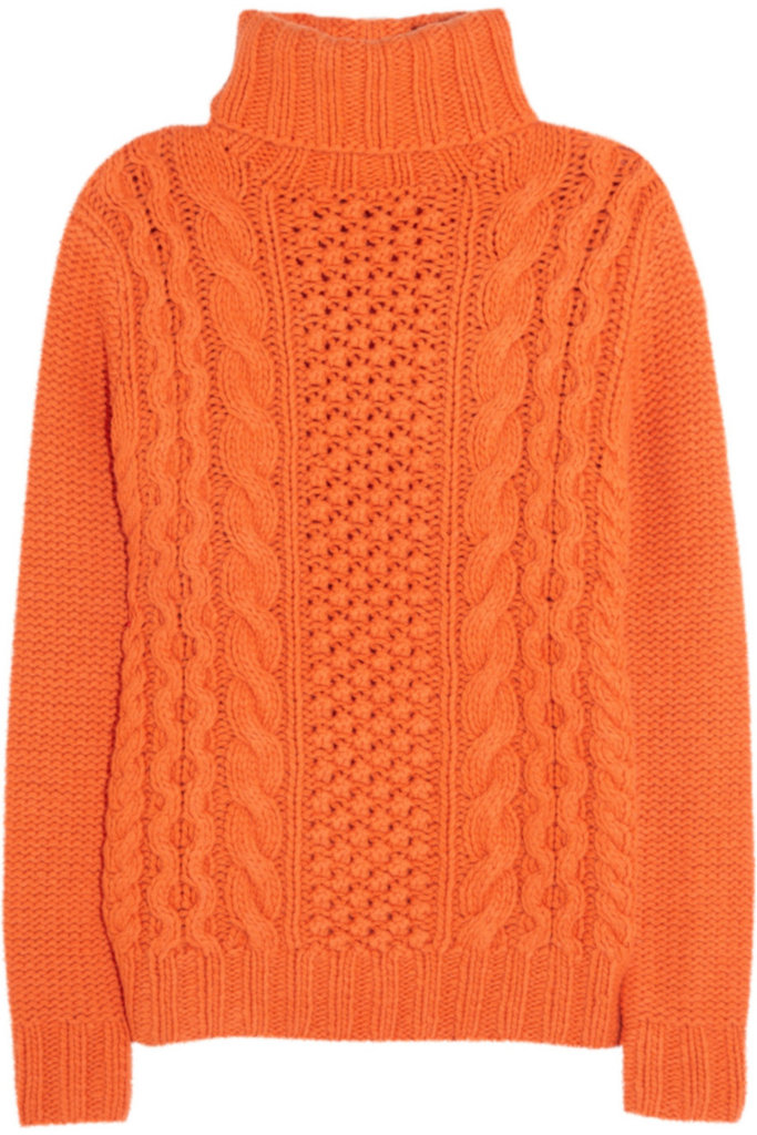 Brighten up a gloomy day (and grab some attention) with this electric-orange Joseph Cable-Knit Wool Blend Sweater ($695).