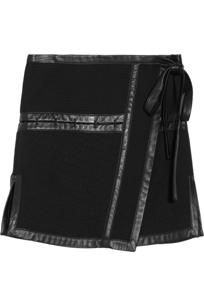 Leather doesn't always mean edgy. The bow and A-line silhouette of this Proenza Schouler Leather-Trimmed Scuba Jersey Skirt ($985) keep it prim and proper.