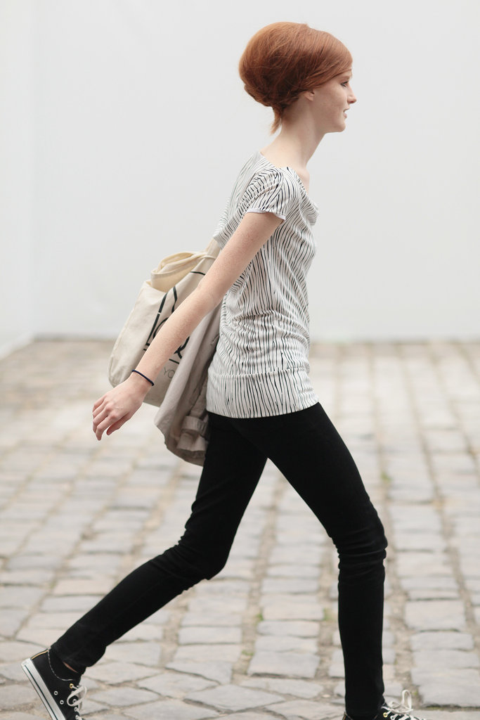 Another model showed off her beehive and her off-duty style.