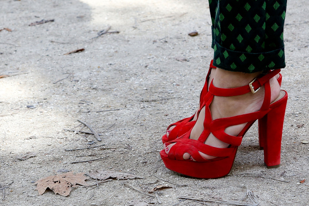 Red heels spiced up printed pants.