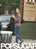 Katie Holmes wore a plaid shirt and jeans in NYC.