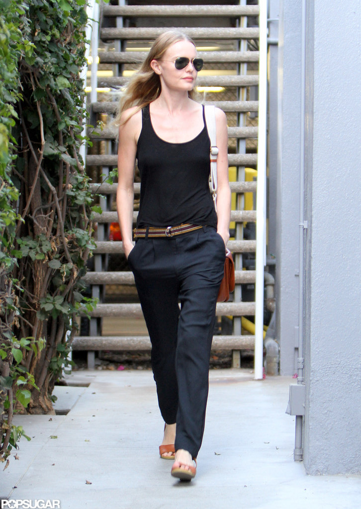 Kate Bosworth paired a black tank with blue pants for an LA outing.