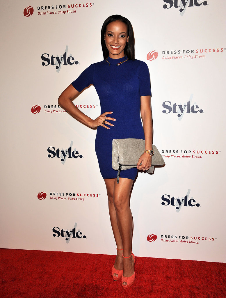 Selita Ebanks showed off her stems — and opted for a brilliant blue hue — while out for the fourth annual Give & Get Fete in Beverly Hills.